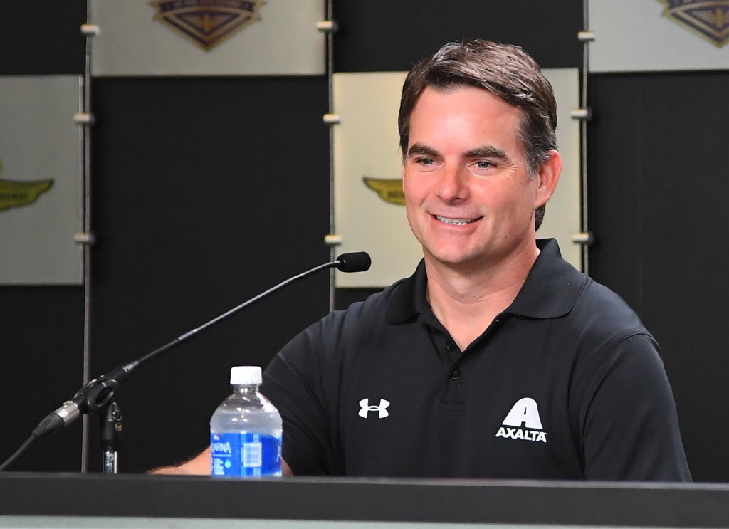 Jeff Gordon talks about returning to the NASCAR Sprint Cup Series at the Indianapolis Motor Speedway. [Russ Lake Photo]