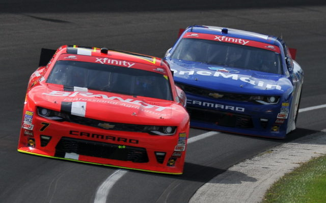 Justin Allgaier beat teammate Elliott Sadler for the $100,000 Dash for Cash.  [John Wiedemann Photo]