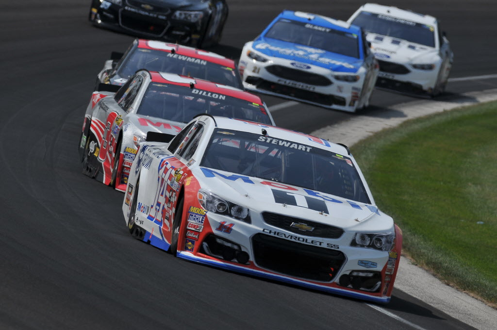 Tony Stewart in turn one at the Indianapolis Motor Speedway. [John Wiedemann Photo]