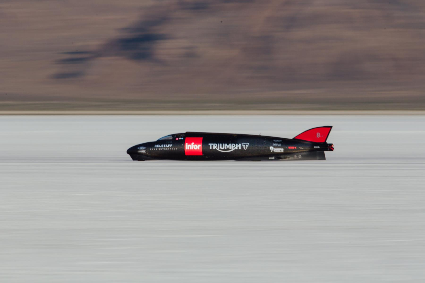 Triumph Infor Rocket Streamliner at Bonneville. [photo courtesy Triumph Motorcycles]