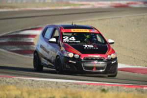Canaan O'Connell on track in the No. 24 TechSport Racing Chevy Sonic.  [photo courtesy Pirelli World Challenge]