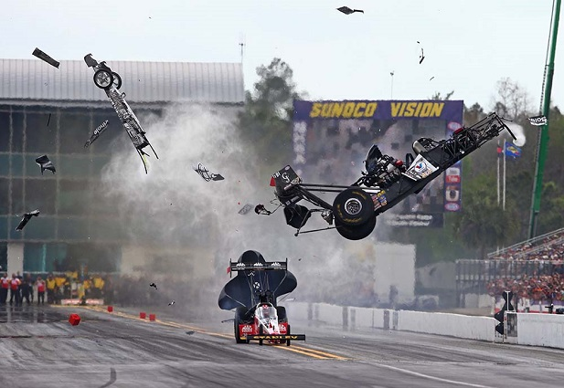 Larry Dixon won the battle with throat cancer in 2015 and survived a punishing 109g crash at the NHRA Gatornationals which broke his T-4 and T-5 vertebrae. [Photo courtesy Larry Dixon Racing]