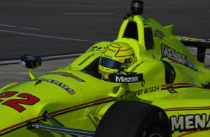 IndyCar Series point leader Simon Pagenaud barrels out of pits. [Joe Jennings Photo]