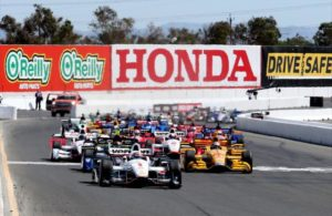 Will Power leads the field to the green to start the 2015 GoPro Grand Prix of Sonoma at Sonoma Raceway. [Photo by: Chris Jones]