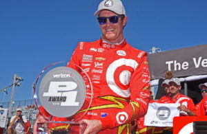 Scott Dixon all smiles as he receives Verizon P1 pole award. [Joe Jennings Photo]