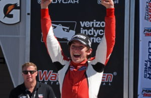 Indy Lights winner Zach Veach celebrates in victory lane at Watkins Glen. [Joe Jennings Photo]