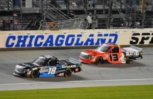 Kyle Busch (18) leads Cameron Haley (13) at Chicagoland Speedway. [Kim Kemperman Photo]
