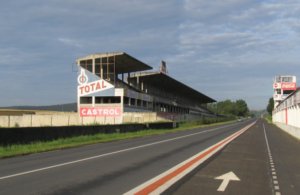 The main grandstands at Reims-Gueux. [Mark Gero Photo]