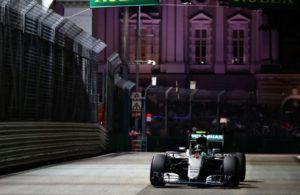 Nico Rossberg on track in Singapore. [Photo by Cliff Mason of Getty Images]