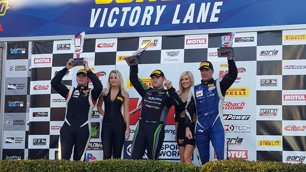 Pirelli World Challenge GTS Podium: Parker Chase, Nate Stacy and Hugh Plumb [photo courtesy Pirelli World Challenge]