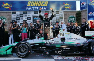 Simon Pagenaud celebrates in Victory Lane after winning the GoPro Grand Prix of Sonoma and the 2016 Verizon IndyCar Series Championship. [Photo by: Chris Jones]
