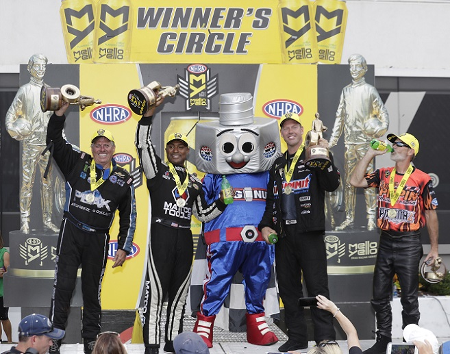 From left, John Force, Antron Brown, Jason Line and Chip Ellis claimed wins in the NHRA Carolina Nationals on Sunday at zMAX Dragway. [CMS/HHP photo]