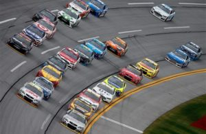 The field packs up during the 2015 NASCAR Sprint Cup Series fall race at Talladega Superspeedway. [Credit: Photo by Brian Lawdermilk/Getty Images]