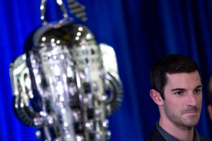Alexander Rossi meets with the media at the Borg-Warner tropy unveil ceremony at the Indianapolis Motor Speedway.  [Andy Clary Photo]