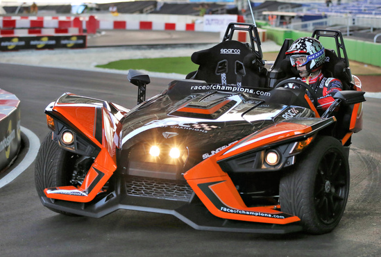 Travis Pastrana (USA) driving the Polaris Slingshot SLR on track during previews to the Race of Champions on Thursday 19 January 2017 at Marlins Park, Miami, Florida, USA. [Photo courtesy Race Of Champions 2016 www.raceofchampions.com]