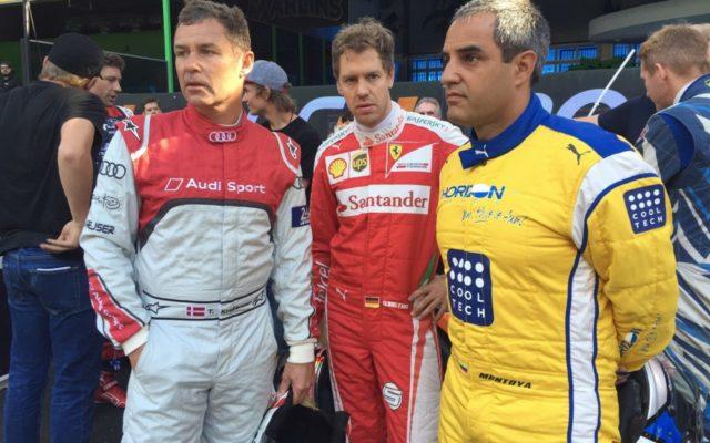 Tom Kristensen, Sebastian Vettel and Juan Montoya.  [Photo by Eddie LePine]