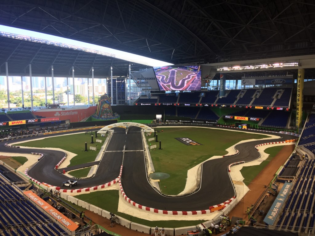 The race circuit for the Race of Champions at Marlins Park in Miami. [Photo by Eddie LePine]