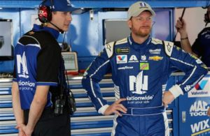 Dale Earnhardt Jr. in the garage during practice for the Monster Energy NASCAR Cup Series 59th Annual DAYTONA 500. [Credit: Photo by Jerry Markland/Getty Images]