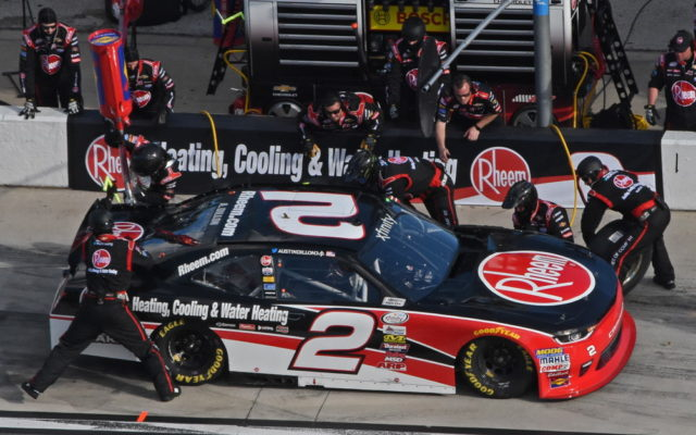 Third-place finisher Austin Dillon receives pit service.  [Joe Jennings Photo]
