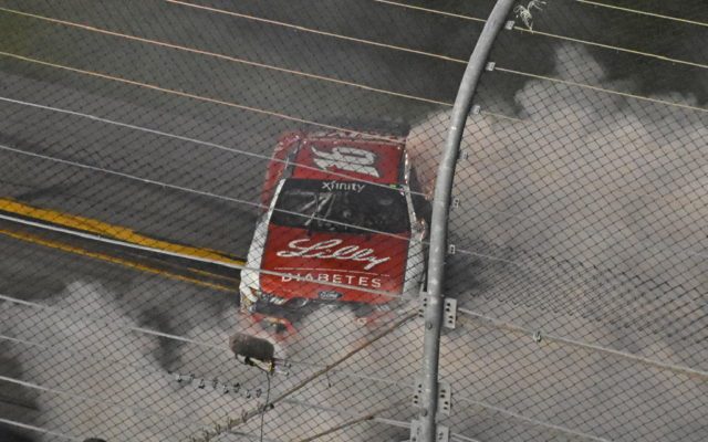 Winner Ryan Reed does burnout.  [Joe Jennings Photo]