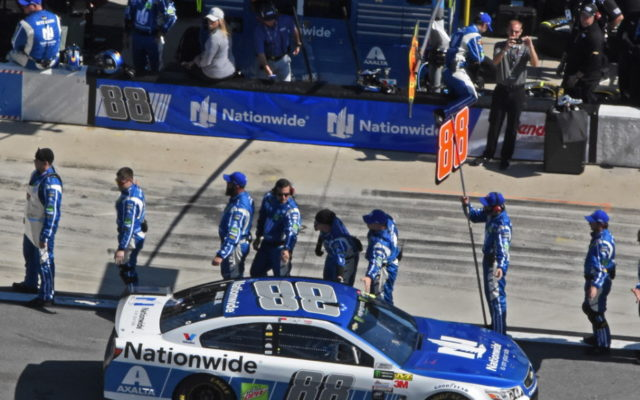 Dale Earnhardt Jr. gets a sendoff from his crew.  [Joe Jennings Photo]