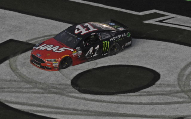 Winner Kurt Busch does donuts to celebrate the victory.  [Joe Jennings Photo]