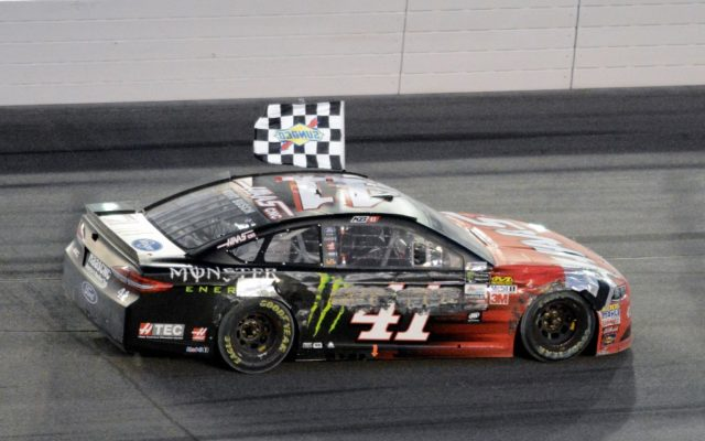 Checkered flag victory lap for Kurt Busch.  [Kim Kemperman Photo]