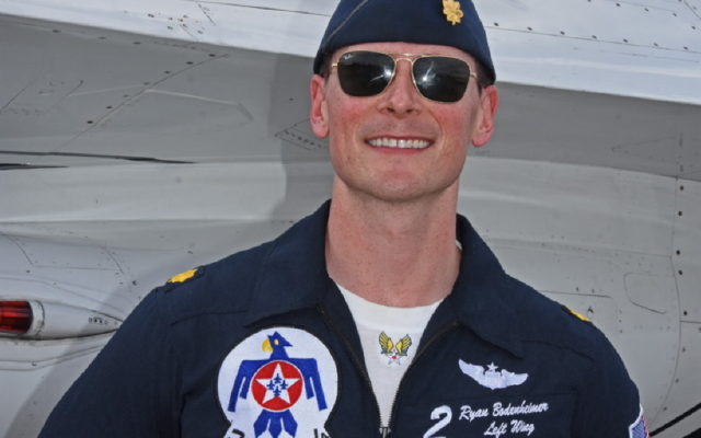 Maj. Ryan Bodenheimer poses next to his F-16.  [Joe Jennings Photo]