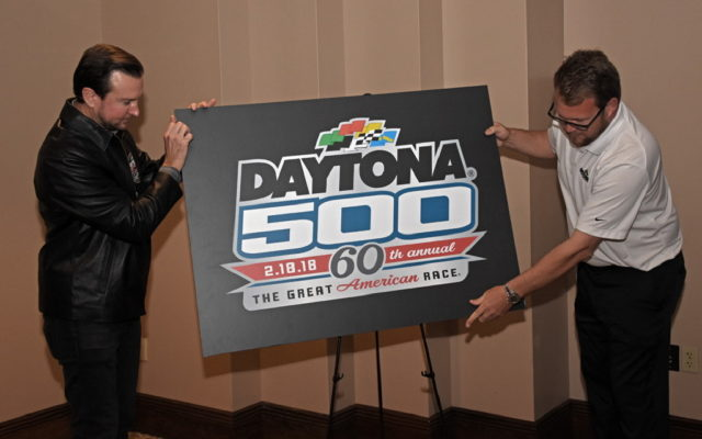 Kurt Busch and DIS president Chip Wile unveil 2018 logo and announce race date of 2-18-2018.  [Joe Jennings Photo]