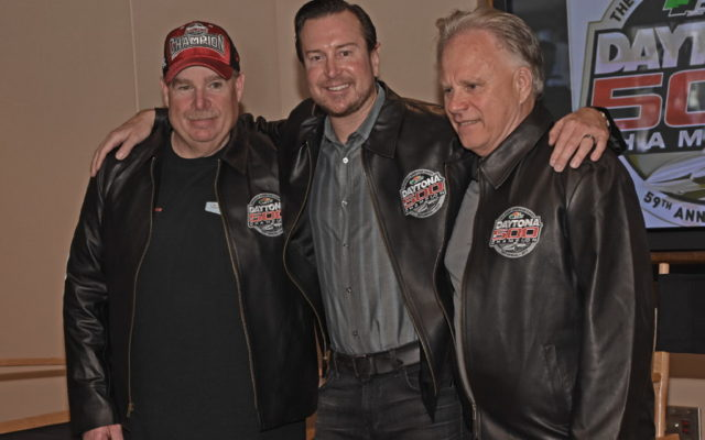 Wearing their winning jackets – Tony Glover, Kurt Busch and Gene Haas.  [Joe Jennings Photo]