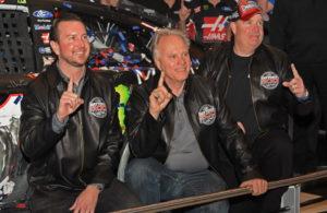 Kurt Busch, Gene Haas and Tony Glover hold up 1 finger symbolic of their Daytona 500 win. [Joe Jennings Photo]