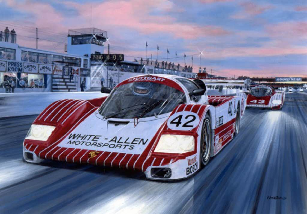 The class winning Porsche Fabcar at Sebring in 1987. [Painting by Roger Warrick]