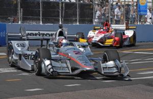 Josef Newgarden and Marco Andretti careen through turn 11. [Joe Jennings Photo]