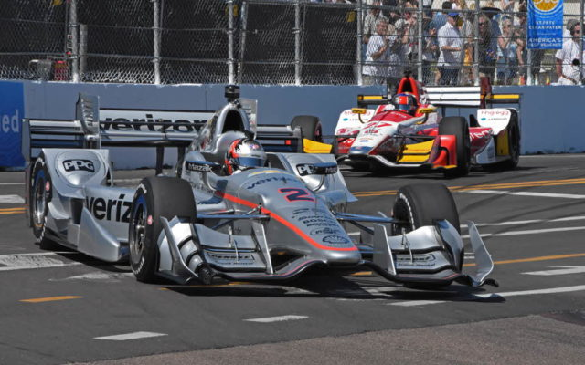 Josef Newgarden and Marco Andretti careen through turn 11.  [Joe Jennings Photo]