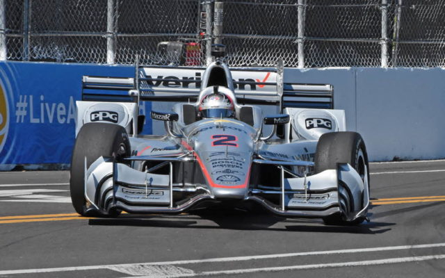 Josef Newgarden starts a harmless spin.  [Joe Jennings Photo]