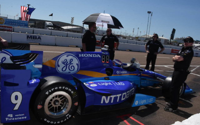 Sporting new blue colors, Scott Dixon's team shown preparing his car.  [Joe Jennings Photo]