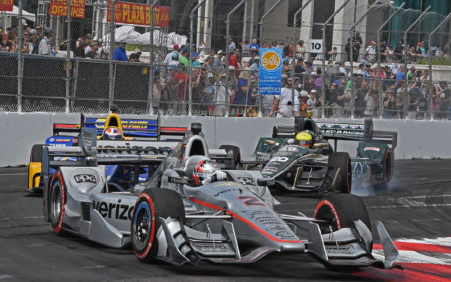Turn 10 action – Josef Newgarden leads Alexander Rossi and Spencer Pigot.  [Joe Jennings Photo]