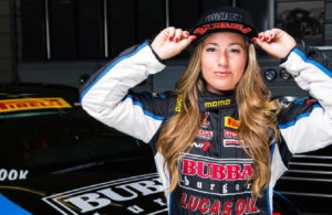 Pirelli World Challenge driver Shea Holbrook sports her Bubba Burgers hat.