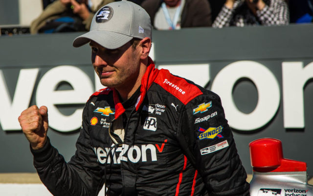 Will Power celebrates his track record run at the IndyCar Grand Prix.  [Andy Clary Photo]