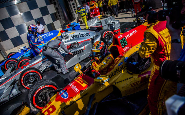 The podium finishers of the 2017 IndyCar Grand Prix, Scott Dixon, Will Power and Ryan Hunter-Reay, pull into victory lane.  [Andy Clary Photo]