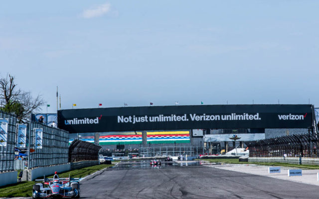 Will Power runs all alone down in the infield of the road course at Indianapolis.  [Andy Clary Photo]