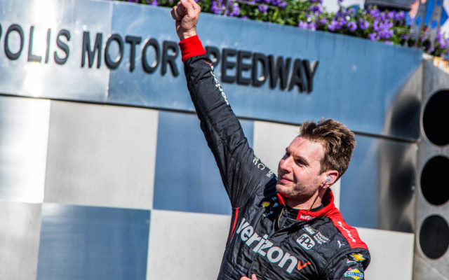Will Power celebrates his second IndyCar Grand Prix victory.  [Andy Clary Photo]