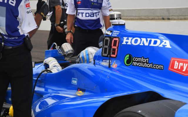 Tony Kanaan in pits during Indy 500 practice.  [Russ Lake Photo]