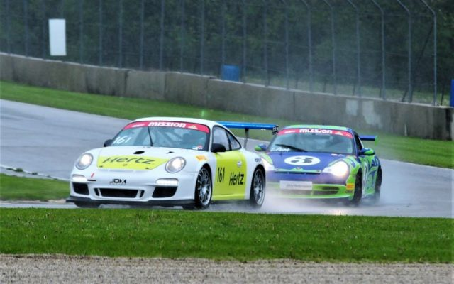 #161 Jeffrey Freeman (Porsche GT3 Cup) and #3 Lucas Pank (Porsche GT3 Cup 996) in turn 3 in Group 10, 1GT Feature Race #1 on Saturday at Road America.  [Dave Jensen Photo]