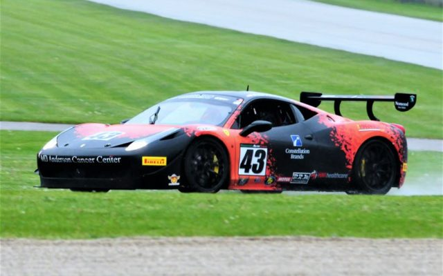 #43 Barry Fromberg (Ferrari 458 Challenge) winner of Group 6,12,12b Feature Race #1 on Saturday at Road America.  [Dave Jensen Photo]