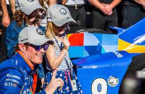 Scott Dixon celebrates with his family after winning the Indianapolis 500 pole. [Andy Clary Photo]