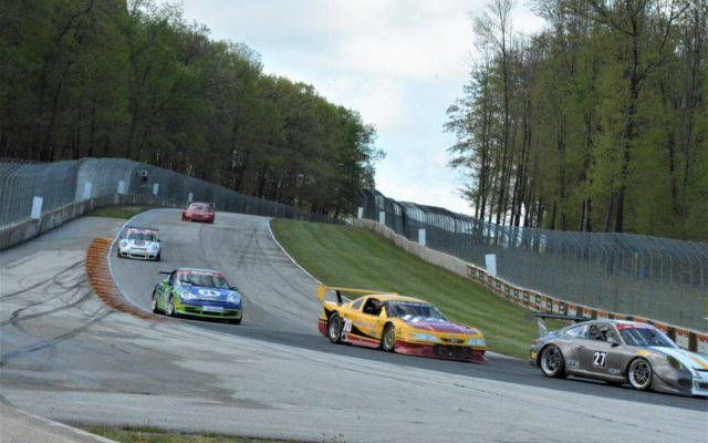 #27 Robert Wisen (PORSCHE GT3), #70 Adam Rupp (MUSTANG) and #3 Lukas Pank (PORSCHE GT3 CUP 996) head into turn 5 in Group 10 & IGT, race 2 on Sunday at Road America.  [Dave Jensen Photo]