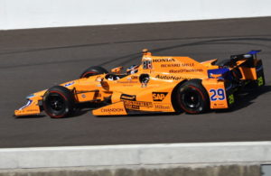 Fernando Alonso during Carb Day practice at Indianapolis. [John Wiedemann Photo]