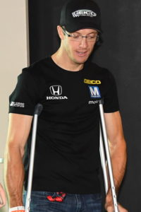 Sebastien Bourdais arrived at the Indianapolis Motor Speedway on crutches as he recovers from his accident during qualifying.  [Russ Lake Photo]