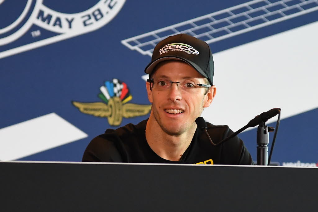 Sebastien Bourdais talks with the media at the Indianapolis Motor Speedway. [Russ Lake Photo]